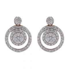 Sparkling Cricle In Cricle Design Daimond Earring-DTP6043