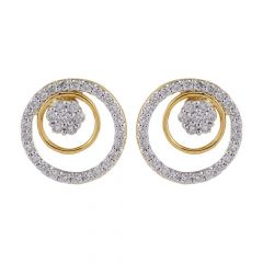 Sparkling Glossy Finish Circle In Circle Stud Diamond Earring-DTP6048