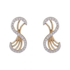 Glittering Curved Design Diamond Stud Earring-DTP6049