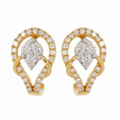 Sparkling Leafy Design J Bali Diamond Earrings-E01341