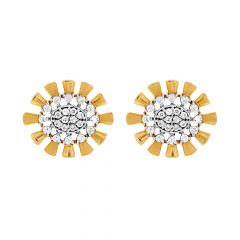 Sparkling Cluster CZ Floral Gold Earrings
