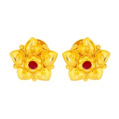 Glossy Finish Heart Floral Design With Studded Synthetic Ruby Gold Earrings
