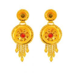 Glossy Matte Finish Diamond Cut Round Rays Design With Studded Multicolour CZ Gold Earrings