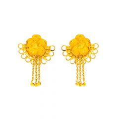 Bloom Floral Dangler Gold Earrings