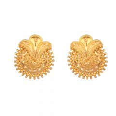 Glossy Finish Embossed Ball Tranditional Gold Earring For Women-ER1204930