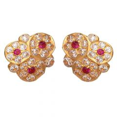 Floral Design Studded With CZ Top Design With Synthetic Pink Stone Studded Gold Earrings-ER22-337
