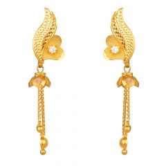 Glossy Finish Diamond Cut Design Studded Synthetic Pink Stone With CZ Drop Gold Ball Earrings-ER22-500