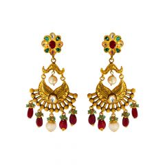 Traditional Antique Floral Gemstone Earrings