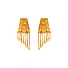 Traditional Enamel Dangler Gold Earrings