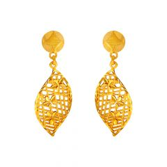 Stylish Paisley Cutout Floral Gold Earrings