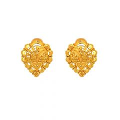 Traditional Embossed Textured Gold Earrings