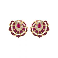 Blossom Cluster Floral Natural Ruby Diamond Earrings