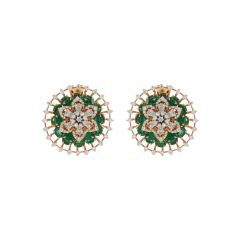 Blossom Floral Natural Emerald Diamond Earrings