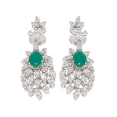 Half Floret Chandelier Design Drop Studded With Synthetic Detachable Stone Diamond Earrings-ERA2087-8045-8061-001