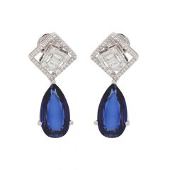 Elegant Stud Drop Design Studded With Synthetic Detachable Blue Stone Diamond Earrings-ERA2168-8045-8889-001