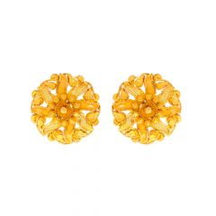 Traditional Blooming Floral Gold Earrings