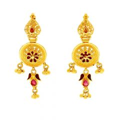 Glossy Embossed With Enamel Gold Beads Floral Earring -ET1833
