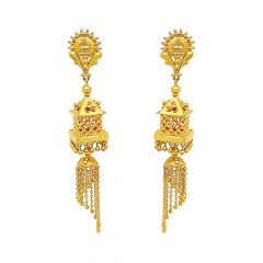 Ceremoinal Temple Cutout Tassel Gold Earrings