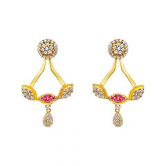 Stunning Cluster Dettachable CZ Gemstone Front Back Earrings