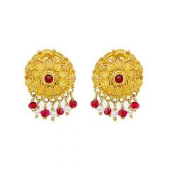 Traditional Textured Floral Gemstone Gold Earrings