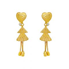 Textured Heart Dangler CZ Gold Earrings
