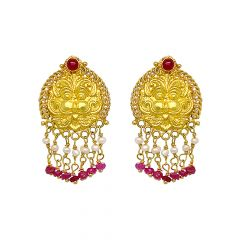 Ceremonial Gemstone Dangler Gold Earrings