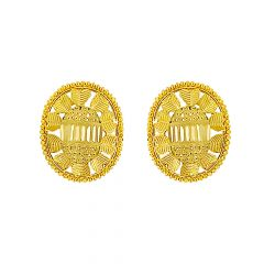 Textured Oval Gold Earrings