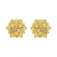 Blossom Floral Textured Gold Earrings