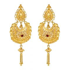 Traditional Embossed Dangler Gemstone Earrings