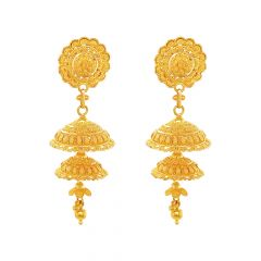 Classic Embossed Floral Gold Jhumki