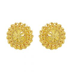 Traditional Floral Textured Gold Earrings