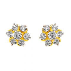 Traditional Floral CZ Stud Gold Earrings