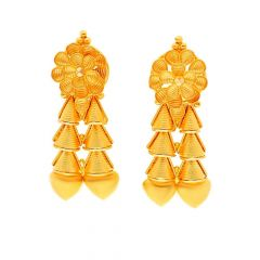 Glossy Floral Spiral Gold Earring -ET7770