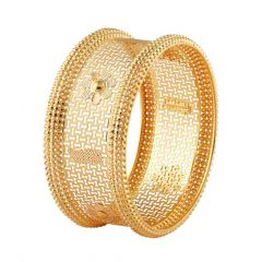 Classic Textured Floral Filigree Broad Gold Bangle-FC-158906