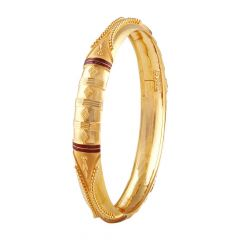 Matte Glossy Finish Curved Embossed Beads Enamel Gold Bangle-FC-215120