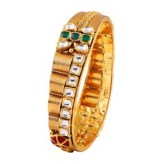 Antique Spiral Winding Kundan With Red Green Stone Studded Gold Bracelet-FC-215702