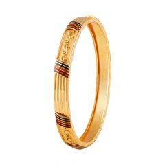 Glossy Finish Multicolour Enamel Embossed Design Gold Bangle-FC-215742