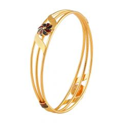Glossy Matte Finish Floral Multicolour Enamel Sprial Gold Bangle-FC-215749
