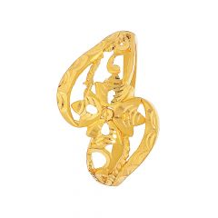 Ceremonial Textured Cutout Floral Gold Ring