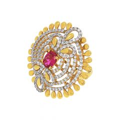 Traditional Cocktail Dome Gemstone CZ Ring