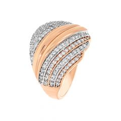 Dazzling Dome Cluster CZ Diamond Ring