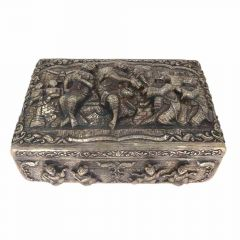 Antique Oxidized Finish Buddha Carving Silver Artifact Box