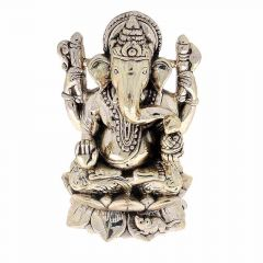 Glossy Oxidized Finish Lord Ganesha On Lotus Silver Murti Artifact