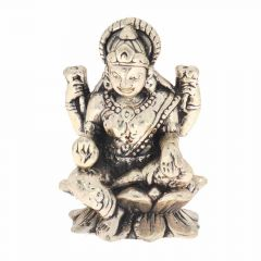 Glossy Oxidized Finish Goddess Laxmi Silver Artifact Murti