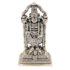 Glossy Oxidized Finish Lord Tirupati Balaji Silver Artifact Murti