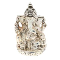 Glossy Oxidized Finish Lord Ganesha Silver Murti Artifact