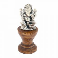 Glossy Finish Lord Ganesha On Wooden Base Silver Murti Artifact
