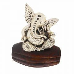 Glossy Finish Lord Ganesh On Wooden Base Silver Artifact Murti