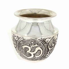 Glossy Oxidized Finish Swastik Om Design Silver Artifact Lota