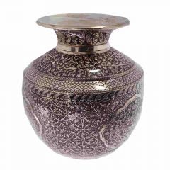 Glossy Oxidized Finish Leafy Floral Design Silver Artifact Lota